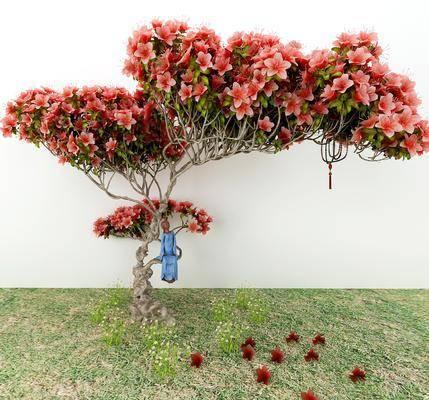 花卉, 树木, 和尚摆件, 草地, 摆件组合, 新中式