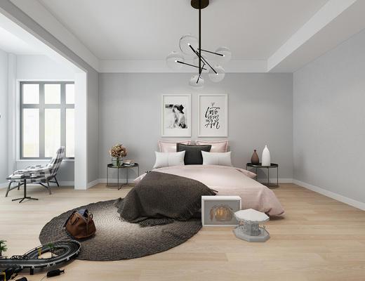 卧室, 北欧卧室, 现代卧室, 吊灯, 装饰画, 床