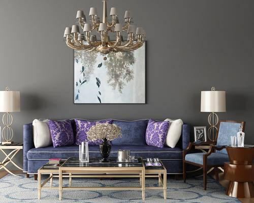 欧式沙发组合, 欧式, 沙发, 茶几, 欧式吊灯, 台灯