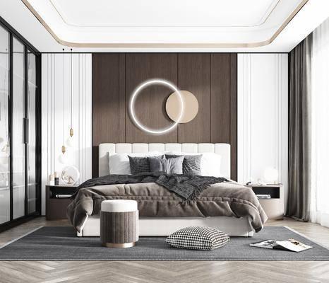 雙人床, 床具組合, 墻飾, 衣柜