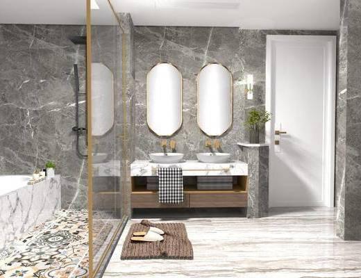 卫浴用品, 洗手盆, 壁镜, 摆件组合, 植物