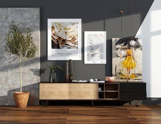 边柜组合, 柜架组合, 装饰画, 盆栽植物