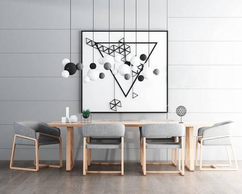 餐桌椅, 桌椅组合, 装饰画, 吊灯, 椅子, 桌子, 现代