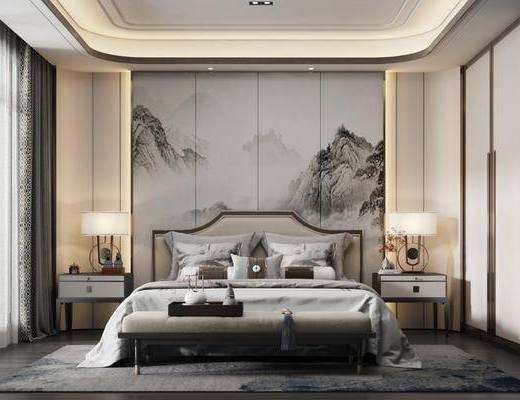 双人床, 背景墙, 地毯, 床头柜, 衣柜