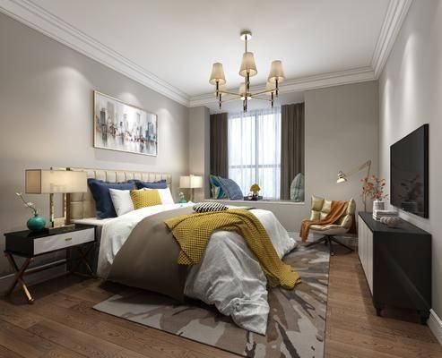 卧室, 床, 床头柜, 台灯, 装饰画, 吊灯, 地毯, 电视柜, 飘窗, 抱枕, 单椅, 休闲椅, 现代