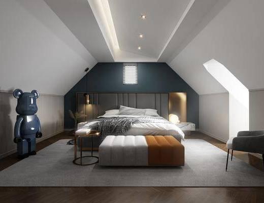 单人床, 床尾踏, 玩偶, 吊灯, 床头柜