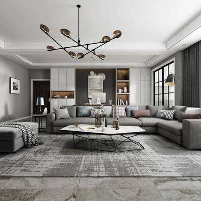 客廳, 餐廳, 現代客餐廳, 沙發組合, 茶幾, 單椅, 桌椅組合, 吊燈, 擺件組合