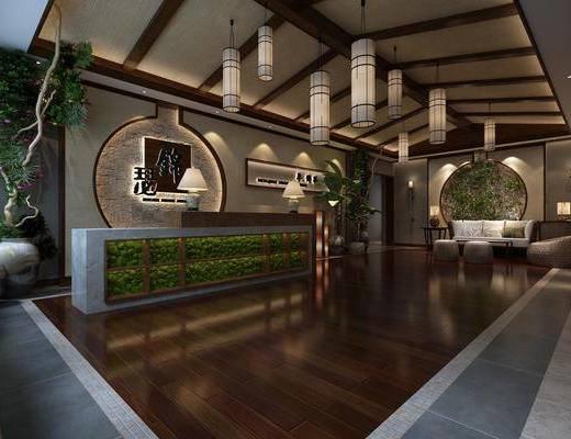 前台接待, 吊灯组合, 多人沙发, 茶几, 单人沙发, 边几, 台灯, 壁灯, 植物墙, 花瓶, 树木, 绿植植物, 中式