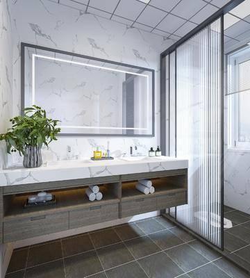 卫浴, 洗手盆, 壁镜, 浴柜, 植物, 花瓶
