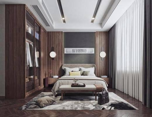 现代卧室, 双人床, 卧室, 现代双人床
