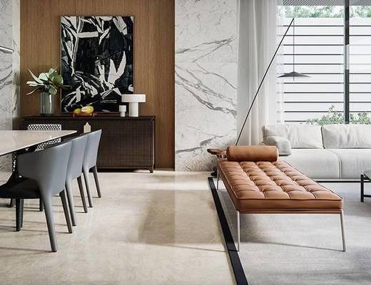 沙发组合, 茶几, 摆件组合, 餐桌, 边柜, 装饰画