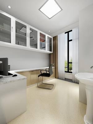 现代医院配液室, 休闲椅, 置物柜, 洗手盆