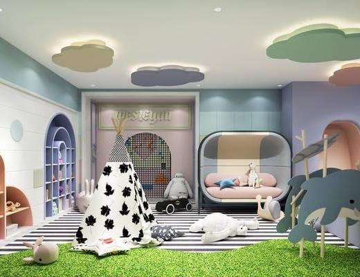 活动区, 游乐区, 玩具, 沙发组合, 置物柜