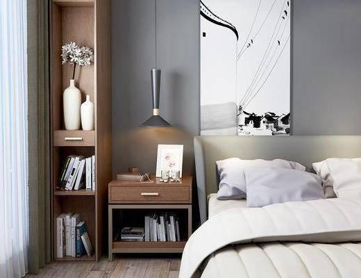 床具组合, 床头柜, 吊灯, 装饰柜, 装饰画, 挂画, 壁画, 书籍, 装饰品, 陈设品, 现代