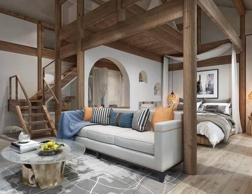民宿客房, 臥室, 沙發組合, 床具組合, 樓梯, 北歐, 沙發茶幾組合, 擺件組合