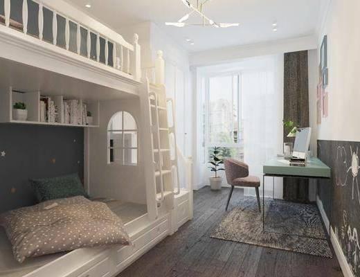 儿童房, 简欧儿童房, 卧室, 床具组合, 上下床, 书桌, 单椅, 简欧