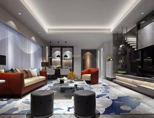 后现代别墅客餐厅, 后现代, 客厅, 楼梯, 沙发, 茶几