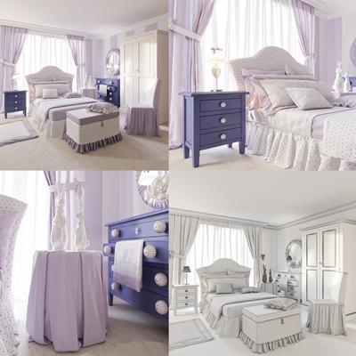 卧室, 儿童房, 双人床, 床头柜, 台灯, 单人沙发, 摆件, 装饰品, 陈设品, 欧式