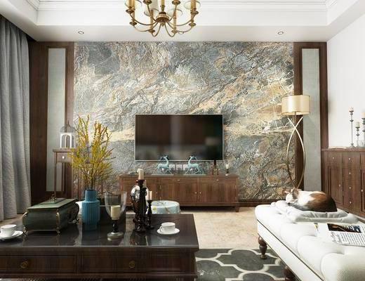美式客厅, 茶几, 沙发凳, 酒柜, 挂画, 美式