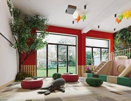 活动室, 娱乐室, 植物, 绿植墙, 上下铺