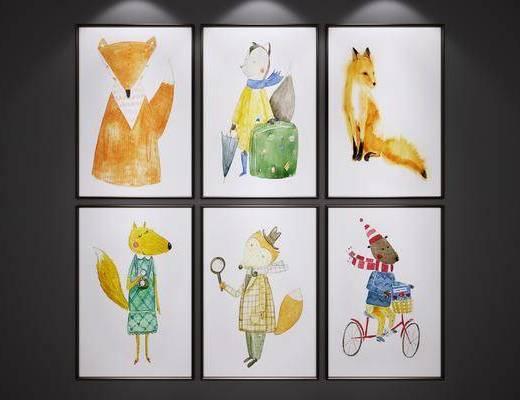 挂画, 卡通装饰画, 儿童房装饰画, 狐狸装饰画