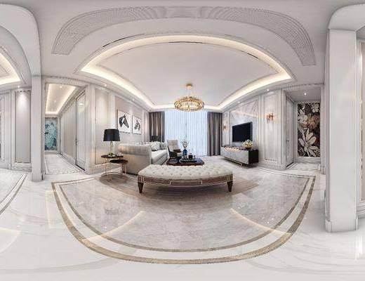 沙发组合, 茶几, 吊灯, 装饰画, 电视柜, 桌椅组合, 边几
