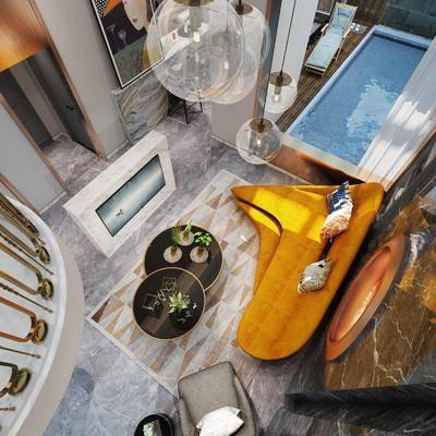 地下室, 后现代, 沙发组合, 吧台, 沙发茶几组合, 客厅
