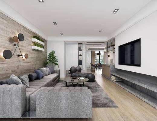 客厅, 多人沙发, 转角沙发, 茶几, 墙饰, 盆栽, 绿植植物, 餐桌, 餐椅, 单人椅, 吊灯, 装饰画, 挂画, 北欧