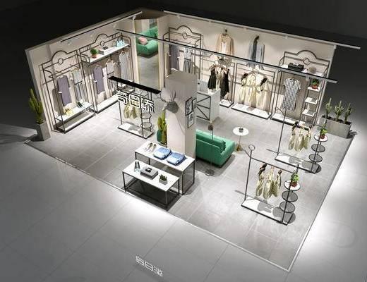服装店, 展架, 展示架, 衣架, 单人沙发, 服饰, 多人沙发, 现代