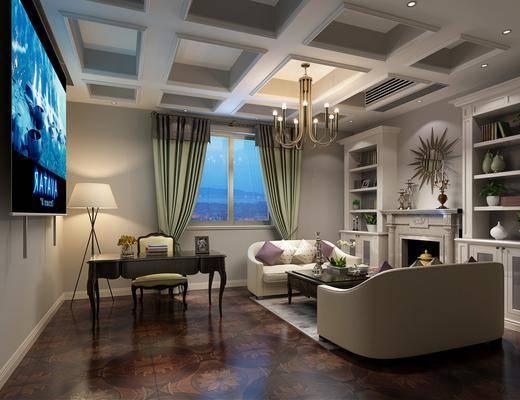 书房, 桌子, 单人椅, 双人沙发, 茶几, 装饰柜, 墙饰, 书柜, 书籍, 盆栽, 绿植植物, 摆件, 装饰品, 陈设品, 美式
