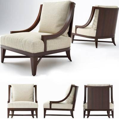 休閑椅, 單椅, 木質, 布藝, 現代