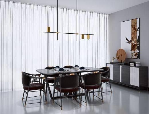 餐桌, 邊柜, 吊燈掛畫