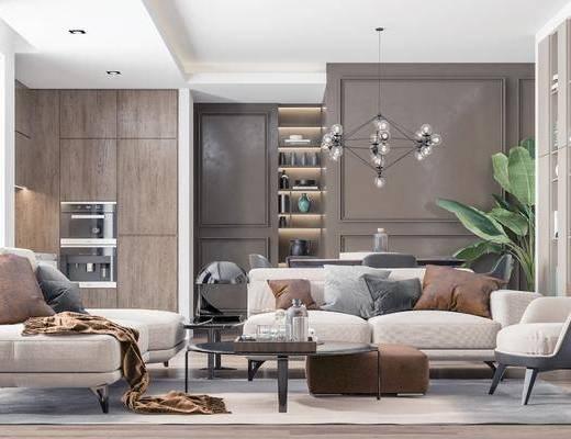 沙發組合, 茶幾, 吊燈, 餐桌, 裝飾畫