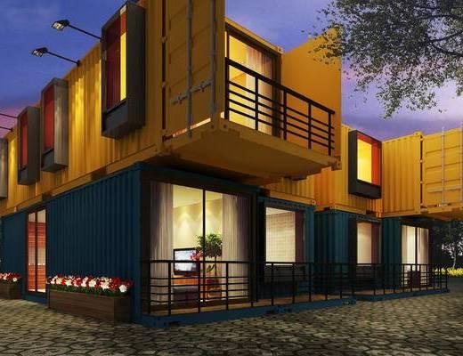 美式, 别墅, 户外建筑, 植物, 树木, 集装箱