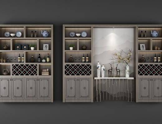 酒柜, 装饰柜, 花瓶花卉, 花卉, 摆件, 装饰品, 陈设品, 新中式