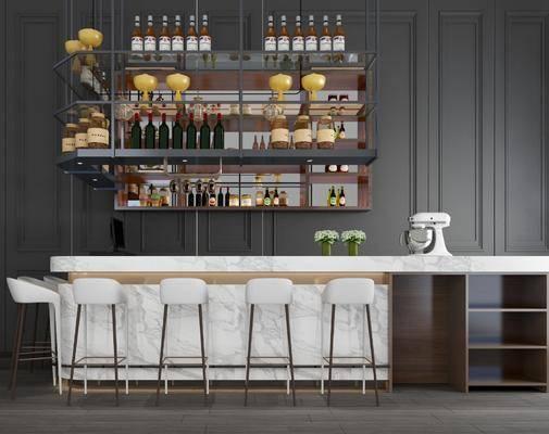 吧臺吧椅, 單人椅, 酒架, 酒瓶, 擺件, 裝飾品, 陳設品, 現代