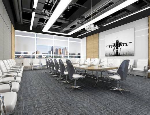 會議室, 會議桌椅組合, 辦公椅, 投影儀, 工業風