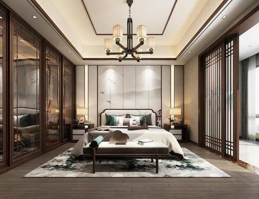 双人床, 吊灯, 衣柜, 床具组合, 背景墙