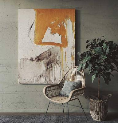现代单椅盆栽装饰画组合