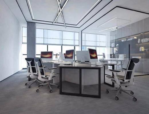 办公室, 桌椅组合, 电脑桌, 文件柜
