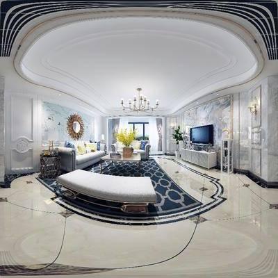 现代客厅餐厅全景模型, 现代客厅, 现代餐厅, 全景模型, 360