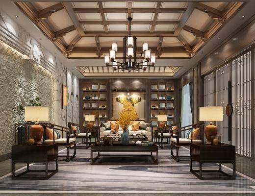新中式, 會客廳, 多人沙發, 單人沙發, 茶幾, 邊幾, 吊燈, 臺燈