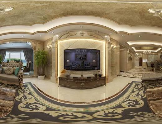 欧式, 客厅, 沙发组合, 茶几, 摆件, 灯具
