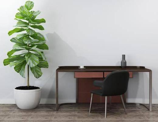 边柜, 植物盆栽, 桌椅组合