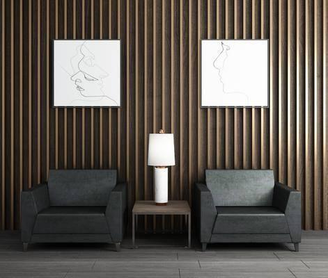 单人沙发, 边几, 台灯, 装饰画, 人物画, 现代