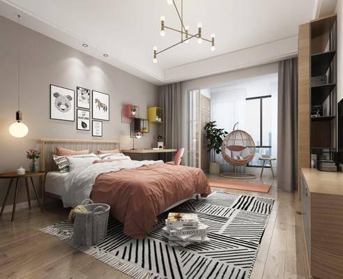 北欧卧室, 北欧床具, 吊灯, 挂画, 床头柜, 边柜, 书架, 桌子, 椅子, 北欧吊灯, 吊椅