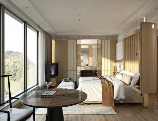 酒店客房, 双人床, 床头凳, 边几, 单人沙发, 单人椅, 床头柜, 台灯, 吊灯, 日式
