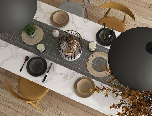 餐具, 吊灯, 单人椅, 摆件, 装饰品, 陈设品, 北欧