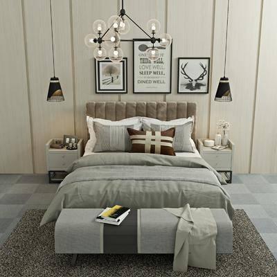 床具组合, 双人床, ?#39184;?#26588;, 吊灯, 装饰画, 挂画, 组合画, 床尾凳, 现代