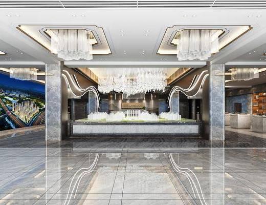 售楼处, 展台, 吊灯, 水晶吊灯, 书柜, 装饰柜, 现代
